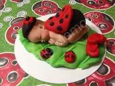 LadyBug Fondant CakeTopper/Fondant Baby/ladybug/ baby ladybug/ ladybug/ baby shower/ cake topper/ cupcake topper/ edible/ babies on Etsy, $18.00