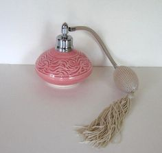 SALE Vintage Pink handmade Perfume Bottle with Atomizer