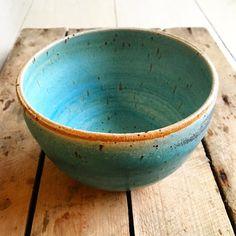 bol vert bleu navire unique danois poterie par EeliArtStudio