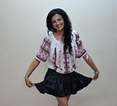 Romanian folk blouse Folk, Ruffle Blouse, Costume, Stuff To Buy, Beautiful, Women, Fashion, Moda, Women's