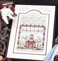 School House Cross Stitch Pattern, via Etsy. Cross Stitch Sampler Patterns, Cross Stitch Samplers, Cross Stitch Designs, Cross Stitching, Halloween Themes, Fall Halloween, Fall Cross Stitch, Decorating Ideas, Craft Ideas