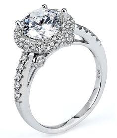0.91 ctw Prong Setting G SI2 Round Brilliant Diamond 14k White Gold Semi Mount Engagement Ring