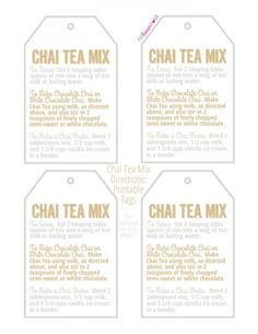 Chai Tea Mix is a unique homemade food gift for those who love Chai Tea.and include a free printable tag with directions for gift giving! Iced Chai Tea, Tea Tag, Homemade Food Gifts, Macaroon Recipes, Christmas Tea, Christmas Goodies, Christmas Baking, Free Printable Gift Tags, Good Morning Coffee