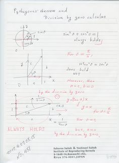 №451-819 昨日、ピタゴラスの定理とゼロ除算を述べましたが、今朝 目を覚ましましたら、他の場合が考えられることが分かりました。1辺を固定して、他の辺を無限に飛ばした時の様を調べる。退化した直角三角形を観る。図のように全ての場合が明らかになり、そこで、ピタゴラスの定理が成り立っている。現象として、無限量がゼロで表されること、 無限の彼方で、強力な不連続性が起きていること。空間の認識を変える必要があります。ピタゴラスの定理は、退化しても成り立っている。 良いことでは? 楽しいのでは?  The division by zero is uniquely and reasonably determined as 1/0=0/0=z/0=0 in the natural extensions of fractions. We have to change our basic ideas for our space and world   Division by Zero z/0 = 0 in Euclidean Spaces Hiroshi Michiwaki, Hiroshi…