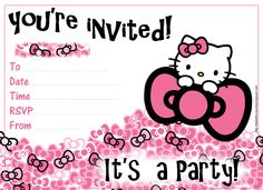 Hello kitty printable birthday invitations in 2018 birthday hello kitty free printable birthday invitations for girls filmwisefo