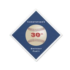 """Baseball Paper Napkins, 30th Birthday Party Standard Cocktail Napkin A baseball on a dark blue background decorates this unique and fun party paper napkin. Although default says """"30th Birthday Celebration"""", you can easily change the name, # of years, and event. Napkin is designed on in a diamond shape - like a ba...read more"""