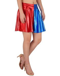 HDE Plus Size Shiny Liquid Skater Skirt Flared Metallic Wet Look Pleated Skirt (Blue and Red, Wet Look, Small Waist, Metallica, Pleated Skirt, Mini Skirts, Skater Skirts, What To Wear, Dress Up, Plus Size