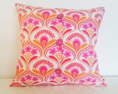 """60s Themed Pink Cushion 100% Organic Cotton Three button enclosure Suitable For 16x16"""" 18x18"""" 20x20"""" and 22x22"""" pads.Vibrant Pinks & Oranges"""