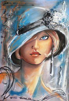 """""""Dam Domido """"blue eyes"""" portrait expressioniste sur toile"""