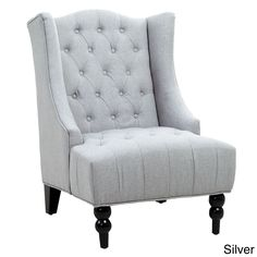 Noble House Toddman Silver Fabric High Back Accent Chair - 295397 - The Home Depot High Back Accent Chairs, High Back Chairs, Fabric Armchairs, Chair Fabric, Upholstered Arm Chair, Wingback Chair, Living Room Chairs, Living Room Furniture, Furniture Chairs