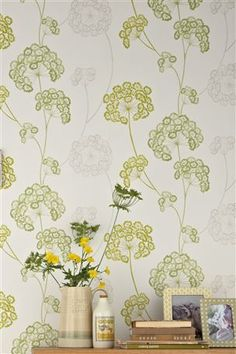 Designer Selection Emily Floral Wallpaper Green / Off White