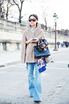 Paris_Fashion_Week_Fall_14-Street_Style-PFW-_Valentino-Miroslava_Duma-Denim-Shearling_Vest-2 by collagevintageblog, via Flickr