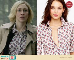 Norma's printed shirt on Bates Motel.  Outfit Details: http://wornontv.net/31978/ #BatesMotel
