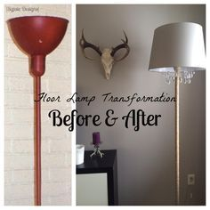 Upcycled DIY Chandelier Lamp is part of Floor lamp makeover - Dress up an old lamp! Add some twine, a new lamp shade, and some fun crystals to make a chandelier lamp that makes quite the statement Floor Lamp Redo, Floor Lamp Makeover, Cheap Floor Lamps, Chandelier Floor Lamp, Floor Lamp Shades, Ceiling Lamp Shades, Chandelier Makeover, Painting Lamp Shades, Painting Lamps