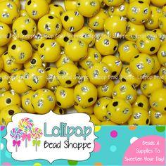 BLING Beads 8mm Beads YELLOW Beads Acrylic by LollipopBeadShoppe, $2.25