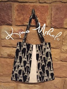 Black and White Eiffel Tower Purse by KimoMikalaSewing on Etsy