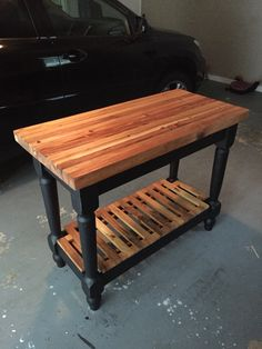Butcher Block Island from Reclaimed Wood.