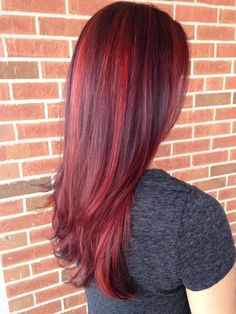Red Balayage highlight with violet lowlights #houseofblonde #melanieamanda