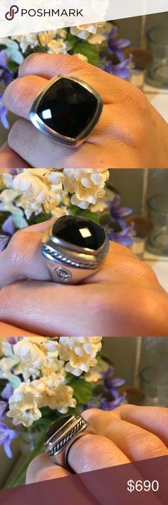 "David Yurman Black Onyx Ring Original David Yurman Black onyx ring. ""DY"" initials engraved on the inside of the ring as well as on the side. David Yurman Jewelry Rings"