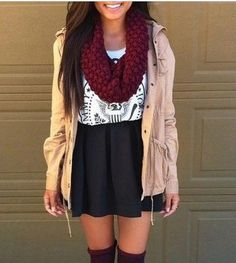 Fall Outfit Khaki jacket, infinity scarf, tank top, skater skirt & knee high socks