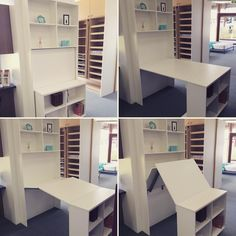 Don't have the room for a desk, but you also need a book case/ display unit? How about our new fold away desk! Make a trip into our Brisbane or Canberra show room to see this amazing fold away desk! Space Saving Furniture, Diy Furniture, Furniture Design, Luxury Furniture, Space Saving Desk, Tiny House Furniture, Furniture Buyers, Furniture Market, Furniture Chairs