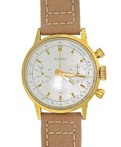 Vintage Zodiac 36mm Chronograph Gold Plated 2 register 7721 movt Valjoux 7730 #Zodiac #LuxurySportStyles