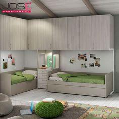 Cameretta Mistral con doppio letto mod. One (divano-letto) – Armadiatura a ponte – Maniglia T17 neutra – Finiture Lignum bianco, Tortora e Olmo chiaro.