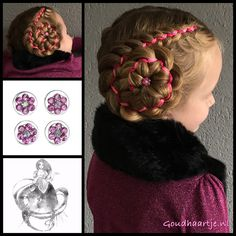 Two five strand ribbon braids with cute curlies from the webshop www.goudhaartje.nl (worldwide shipping). Hairstyle inspired by: @oksana.smirnova.stylist (instagram) #hair #hairstyle #ribbonbraid #updo #curlies #longhair #hairstylesforgirls #beautifulhair #braid #braids #goudhaartje