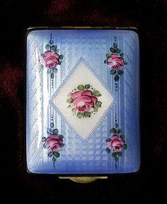 Antique Vintage Blue Guilloche Enamel with Floral Design Compact