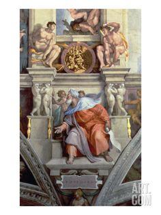 Sistine Chapel Ceiling: the Prophet Ezekiel, 1510 Giclee Print by Michelangelo Buonarroti at Art.com