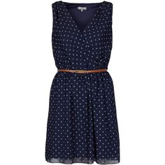 **Cross Bust Dress by Love (78 BAM) ❤ liked on Polyvore featuring dresses, vestidos, navy blue, navy blue polka dot dress, navy dress, navy blue dresses, navy dot dress and dresses with belts