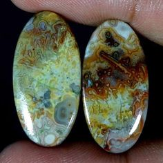 18.85Cts 100% NATURAL CRAZY LACE AGATE DESIGNER GEMSTONE OVAL CABOCHON PAIR #Handmade