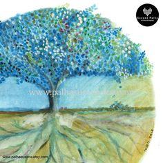 BLUE TREE Illustration Watercolour Magical tree Art print | Etsy Tree Wall Decor, Wall Art Decor, Magical Tree, Watercolor Mixing, Forest Art, Palm Tree Print, Tree Illustration, Black And White Illustration, Modern Wall Decor