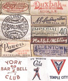 Various vintage athletic clothing lables Vintage Logos, Logos Retro, Vintage Typography, Vintage Tees, Vintage Packaging, Vintage Branding, Vintage Labels, Vintage Graphic Design, Vintage Designs
