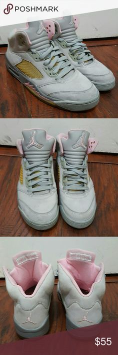Authentic Womens 8.5 Retro Jordan 5 Hi I am selling these really cool womens retro Jordans 5. I have worn them but in good condition. I want to say i bought them 13 years ago and still look really good. Of course a few marks here and there. Very comfortable too. They are a light grey color with baby pink. Great color combo.They need a good home who will appreciate these Retro beauties. Please let me know if you have any questions. Feel free to make an offer. I discount 15% on bundles with 2…