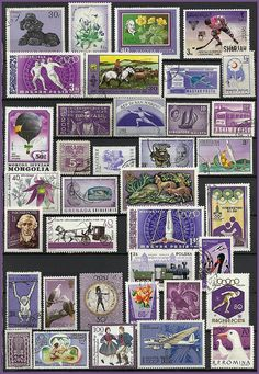 Purple Vintage Postage Stamps  Collecting  Craft by stampsandmore,