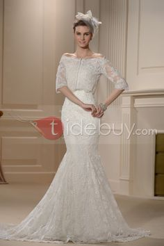 Glorious Trumpet/Mermaid Strapless Lace Embroidery Chapel Wedding Dress : Tidebuy.com