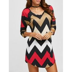 SHARE & Get it FREE | 3/4 Sleeves Zig Zag Print T-ShirtFor Fashion Lovers only:80,000+ Items·FREE SHIPPING Join Dresslily: Get YOUR $50 NOW!