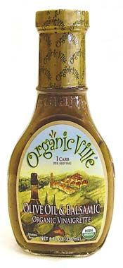 Organic Ville Olive Oil Balsamic--my new favorite dressing--gluten free, organic, dairy free, vegan, and no added sugar.