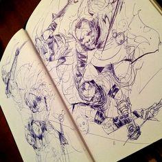 Ball point pen sketches by Kekai Kotaki