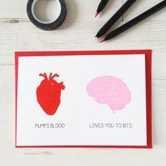 Valentine's Heart Brain Card. Say it how it by NewtonAndTheApple, £3.00