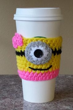 New Handmade Crochet Female Minion Coffee Cozy Cup Sleeve Despicable Me Gift