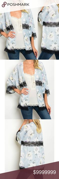 Fall Baby Blue Lace Floral Kimono 3/4 sleeve chiffon floral print cardigan with lace trim detail. 100% Polyester  Bundle and Save! golden threads Sweaters Cardigans