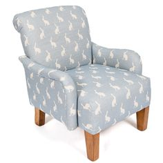 Small But Perfect Children's Wee Stuart Chair upholstered in Peony and Sage Oxford Blue Hares.