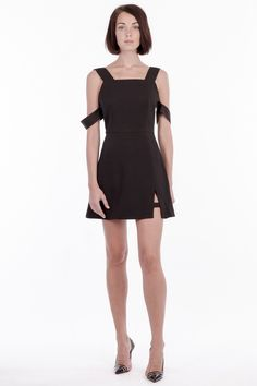 'Inverness' detachable arm band dress with side split.