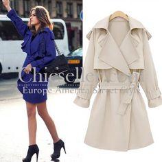 ChicSeller Lapel Belt Long White Trench Coat