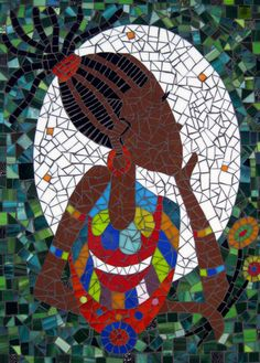 """Handmade AFRICAN MOSAIC TILE Black Woman Tribal Decor Stained Glass Art 19"""" x 14"""""""