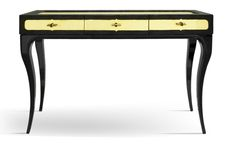 Black reptile embossed dressing table/console