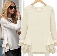 Plus Size S-XL  2016 Women Loose Casual Wave Hem Chiffon Stitching Long-sleeved T-shirt As1423