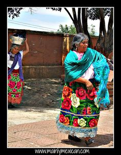 July 2013 in Mexico - MAINLY-MEXICAN's Photos - this is in Ocumicho, Michoacan - women make & wear these lavishly ornate aprons on fiesta days.  The decoration in the center is punched like a hooked rug & the whole thing is very heavy  - visit www.mainlymexican... #Mexico #Mexican #apron #traditional